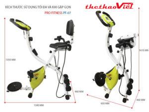 Xe đạp tập thể dục Pro Fitness PF - 07 có thể gấp gọn nên tiết kiệm diện tích tối đa