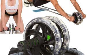 Bộ tập con lăn tập bụng có dây đàn hồi giúp tăng hiệu quả lên 3 lần